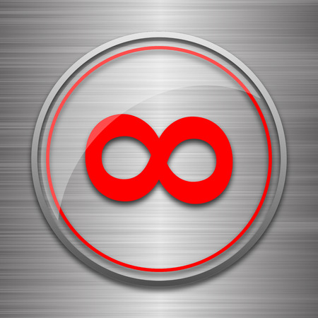 Infinity sign icon. Internet button on metallic background. Stock fotó