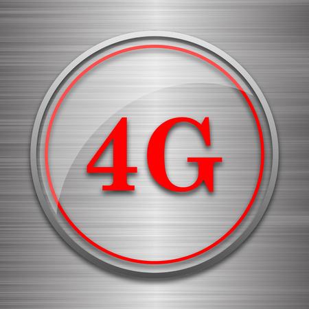 4g: 4G icon. Internet button on metallic background. Stock Photo
