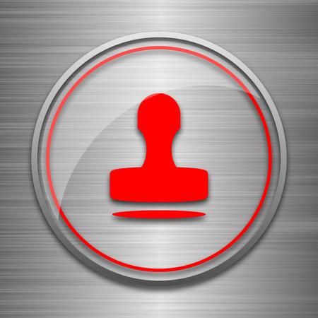 qualify: Stamp icon. Internet button on metallic background. Stock Photo