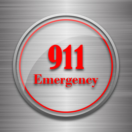 bad service: 911 Emergency icon. Internet button on metallic background. Stock Photo