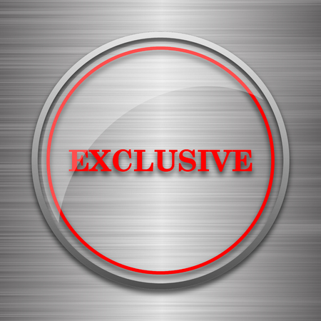 exclusive icon: Exclusive icon. Internet button on metallic background. Stock Photo