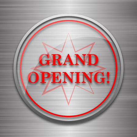 grand sale icon: Grand opening icon. Internet button on metallic background.