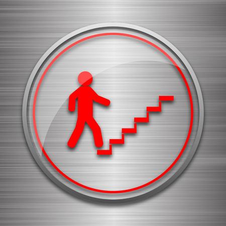 metallic stairs: Businessman on stairs - success icon. Internet button on metallic background. Stock Photo