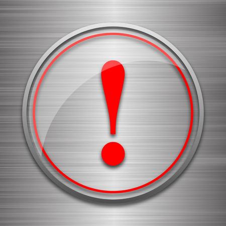 Attention icon. Internet button on metallic background. Stock Photo