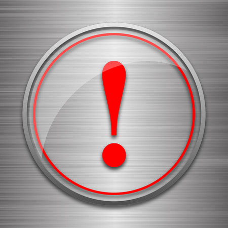 attention: Attention icon. Internet button on metallic background. Stock Photo