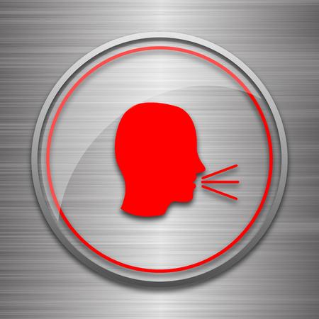 noisily: Talking icon. Internet button on metallic background.