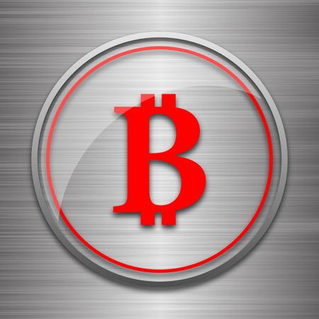 metallic: Bitcoin icon. Internet button on metallic background. Stock Photo