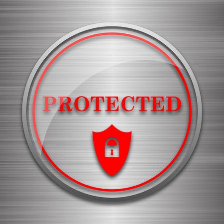 metallic: Protected icon. Internet button on metallic background.
