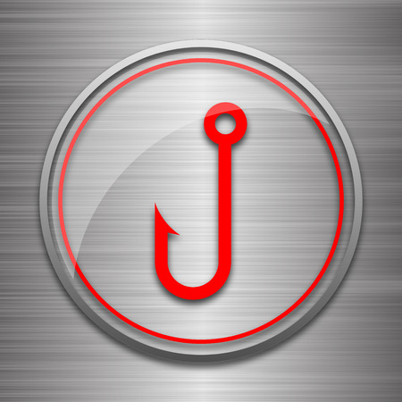fish hook: Fish hook icon. Internet button on metallic background. Stock Photo