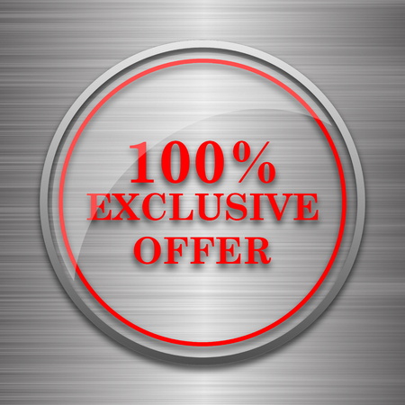 exclusive: 100% exclusive offer icon. Internet button on metallic background.