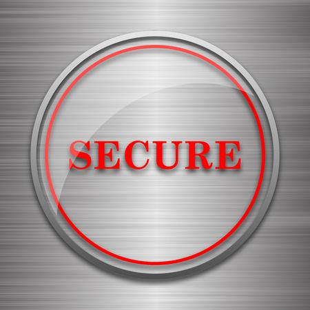 metallic: Secure icon. Internet button on metallic background.