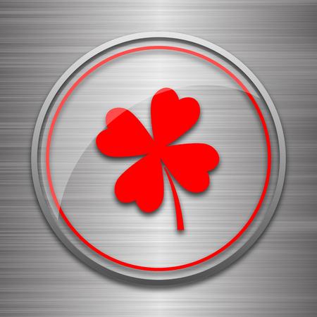 clover button: Clover icon. Internet button on metallic background.