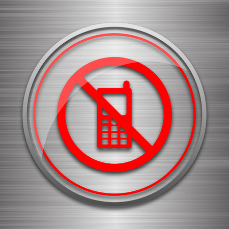 refrain: Mobile phone restricted icon. Internet button on metallic background.