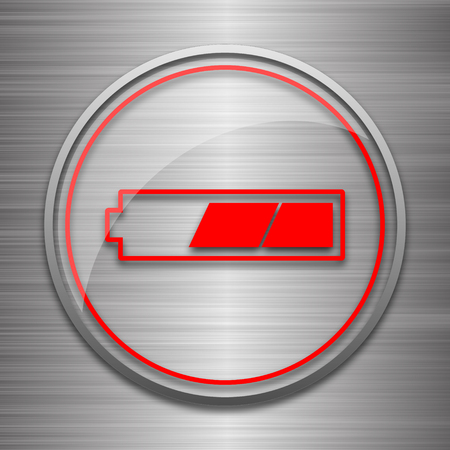 button batteries: 2 thirds charged battery icon. Internet button on metallic background.