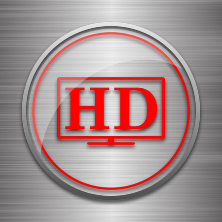 hd: HD TV icon. Internet button on metallic background.