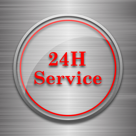 aftersale: 24H Service icon. Internet button on metallic background.