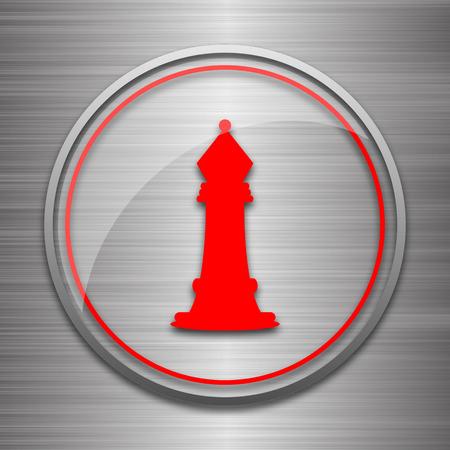 metallic: Chess icon. Internet button on metallic background.