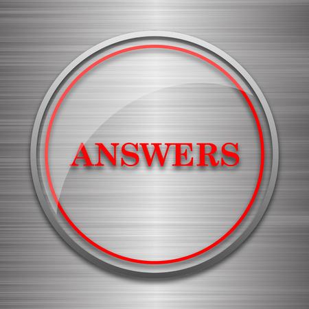 metallic: Answers icon. Internet button on metallic background.