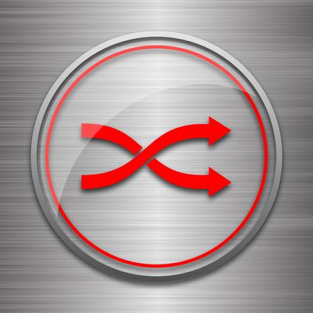 metallic: Shuffle icon. Internet button on metallic background.