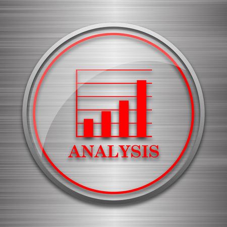 metallic: Analysis icon. Internet button on metallic background.