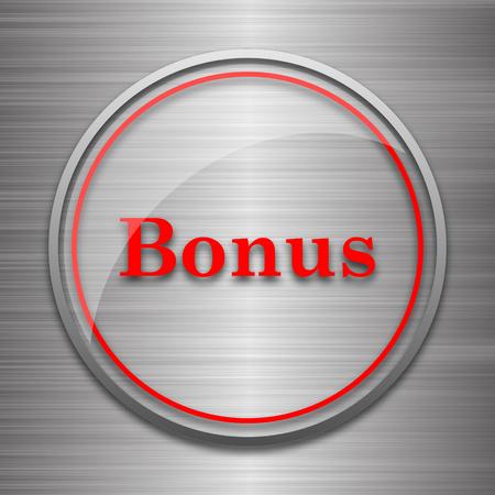 metallic: Bonus icon. Internet button on metallic background. Stock Photo
