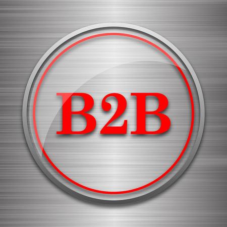 b2b: B2B icon. Internet button on metallic background. Stock Photo