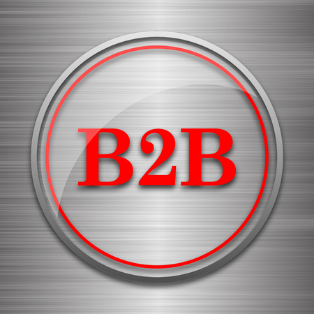 b2b: icono de B2B. botón de internet sobre fondo metálico.