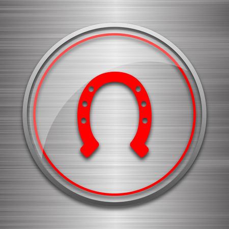 metallic: Horseshoe icon. Internet button on metallic background.