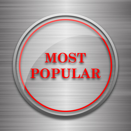 most: Most popular icon. Internet button on metallic background. Stock Photo
