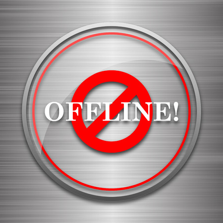 offline: Offline icon. Internet button on metallic background. Stock Photo