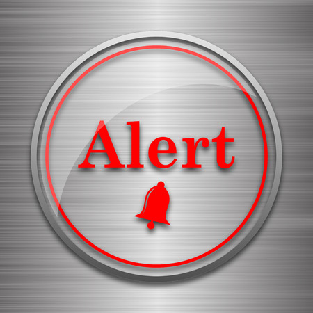peril: Alert icon. Internet button on metallic background. Stock Photo