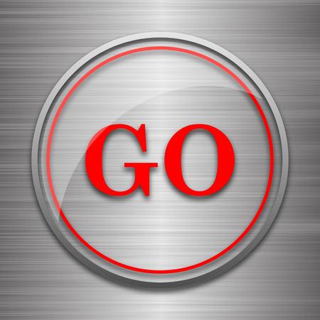 go button: GO icon. Internet button on metallic background.