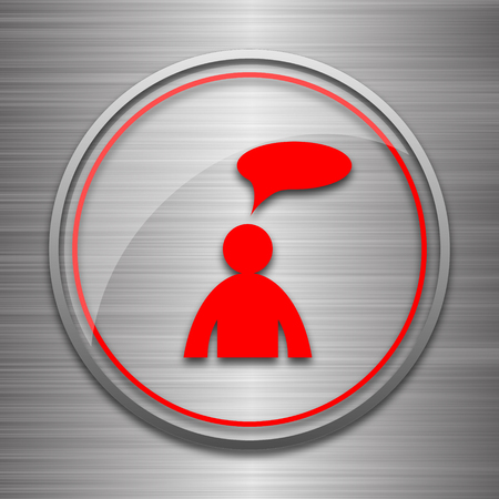 comments: Comments icon. Internet button on metallic background. - man with bubble Stock Photo