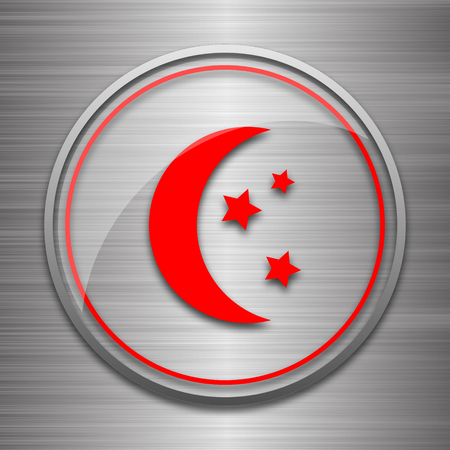 metallic: Moon icon. Internet button on metallic background.