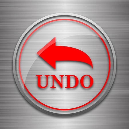 undo: Undo icon. Internet button on metallic background.