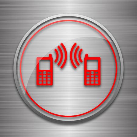 palmtop: Communication icon. Internet button on metallic background. Stock Photo