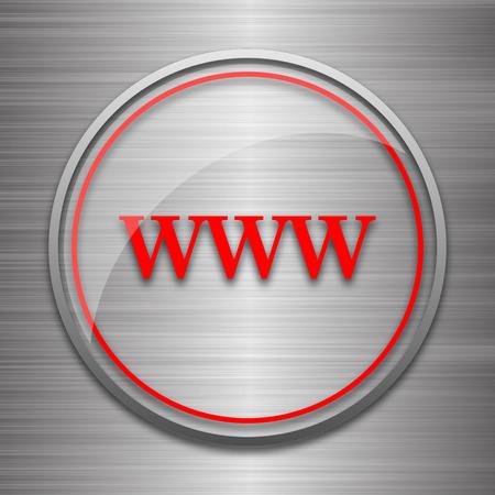 www icon: WWW icon. Internet button on metallic background.