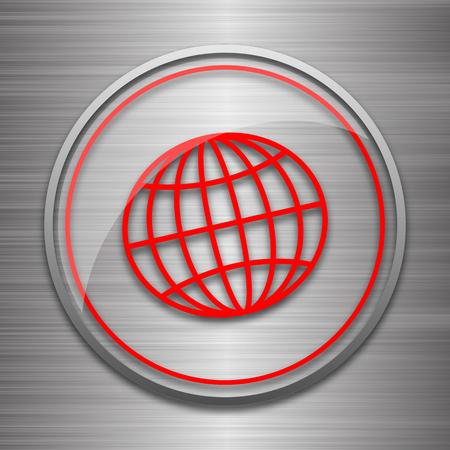 parallel world: Globe icon. Internet button on metallic background.