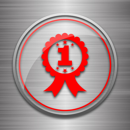 the first prize: First prize ribbon icon. Internet button on metallic background.