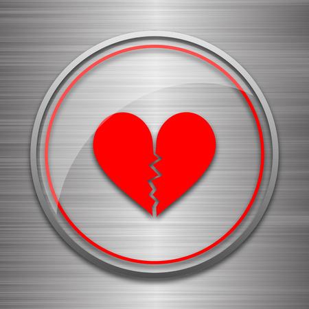 delusion: Broken heart icon. Internet button on metallic background.
