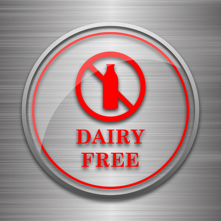 intolerance: Dairy free icon. Internet button on metallic background.