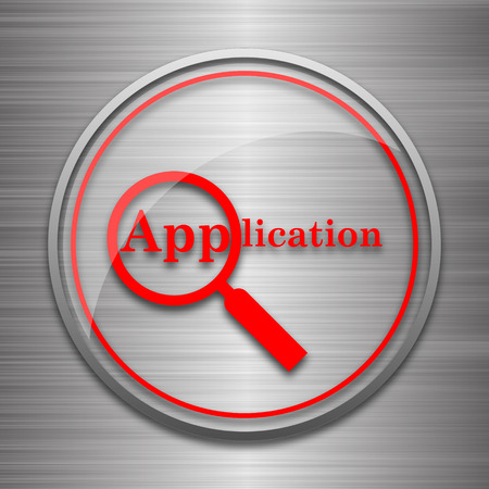 requisition: Application icon. Internet button on metallic background.