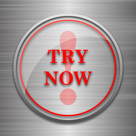try: Try now icon. Internet button on metallic background.