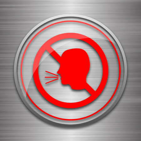 no talking: No talking icon. Internet button on metallic background. Stock Photo