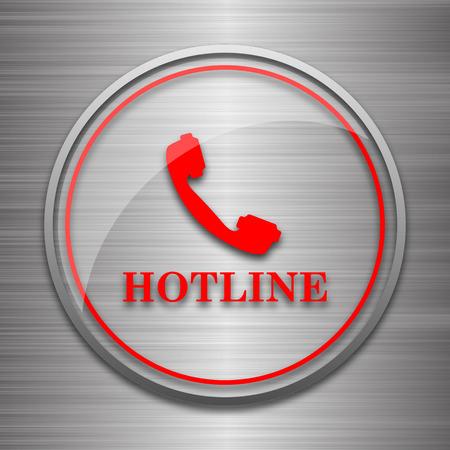 hotline: Hotline icon. Internet button on metallic background. Stock Photo