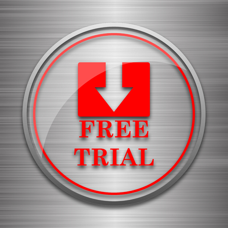 gratuity: Free trial icon. Internet button on metallic background. Stock Photo