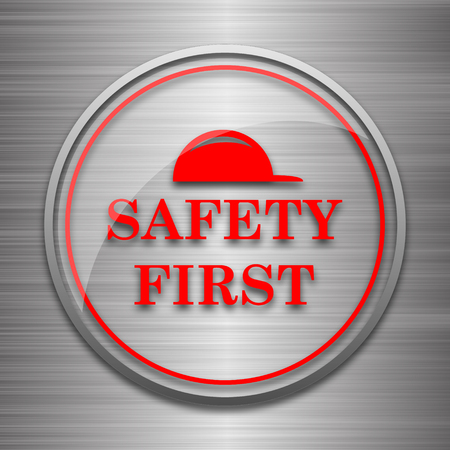 cautionary: Safety first icon. Internet button on metallic background.
