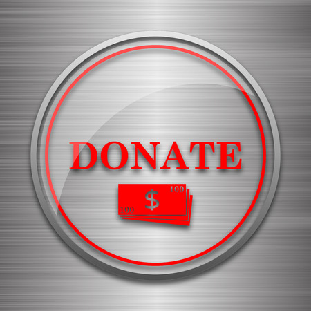 metallic: Donate icon. Internet button on metallic background.