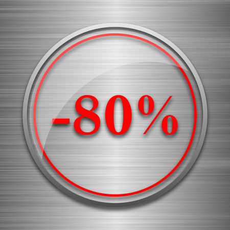 eighty: 80 percent discount icon. Internet button on metallic background. Stock Photo