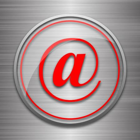 metallic: At icon. Internet button on metallic background.